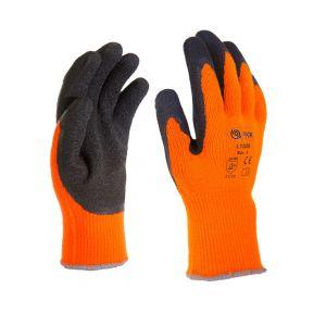 Mănusi de protectie de iarnă, cu palmieră imersată în latex, portocaliu - MPRS LY2029/09